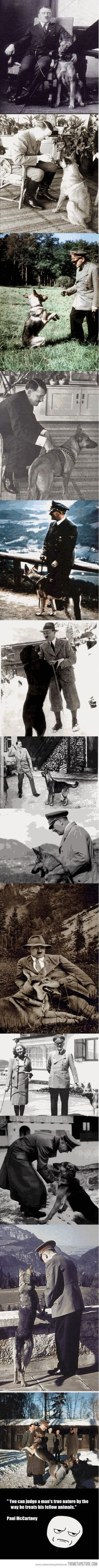 A dictator and his dog ,Hitler tested the cyanide he used in conjunction with a bullet to his brain on his dog before using it on himself because he wanted to be sure it would kill him, he poisoned his beloved pet not knowing if it would be successful or just leave him suffering in an attempt to ease his own passing because he feared retribution... he was an evil prick.