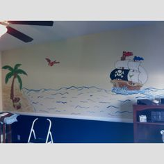 Pirate themed mural for nursery