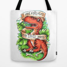 T-Rex Tote Bag by Little Lost Forest - $22.00