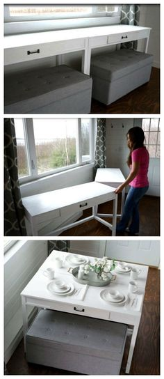 Convertible Desk--Space Saving Idea Space Saver: DIY Convertible Desk for Tiny HouseSpace Saver: DIY Convertible Desk for Tiny House Little Houses On Wheels, Tiny House Storage, Diy Home, Home Decor, Built In Desk, Tiny Spaces, Small Rooms, Tiny Apartments, Ikea Small Spaces