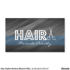Hair Stylist Modern Black & White with Blue Srtipe Double-Sided Standard Business Cards (Pack Of Hairstylist Business Cards, Custom Business Cards, Things To Come, Black And White, Modern, Prints, Blue, Trendy Tree, Black N White