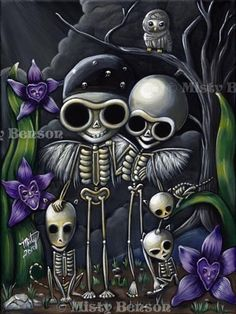 Cute! Day of the dead art skeleton family cat dog gothic fantasy el dia de los muertos print 8.5x11 by Misty Benson of Morbidly Adorable Creations