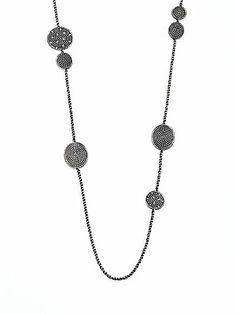 David Yurman Diamond & Sterling Silver Coil Station Necklace