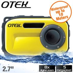 Otek 5MP Waterproof Digital Camera - Waterproof up to 10 Meters, 6.8cm (2.7--) Display Screen, 8x Di - Free Shipping- - TopBuy.com.au