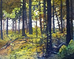 In The Forest, 16 x 20 in watercolor on rice paper by Krista Hasson  $800.00