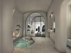 """""""White Cave Suite"""", Karterados SantoriniKarterados, Santorini2019 - 2020PrivateWork in progress204 m2When we first visited this property, located in the traditional village of Karterados, on Santorini island, all we found was two abandoned underground caves and two derelict buildings, no larger than 16 m2 each. Each cave had a unique façade, as they had been constructed during different time periods. The main design idea focused on highlighting every unique feature of the already existing Hotel Architecture, Architecture Design, Dream Home Design, My Dream Home, Exterior Design, Interior And Exterior, Interior Garden, House Goals, Cool Rooms"""