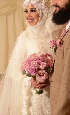 Gorgeous bride on her wedding Congratulations! Hijab styling by Make up by Outfit by Bouquet by Mendhi by . Muslim Wedding Gown, Hijabi Wedding, Muslim Wedding Dresses, Muslim Brides, Muslim Couples, Wedding Wear, Muslim Family, Bridal Hijab, Hijab Bride