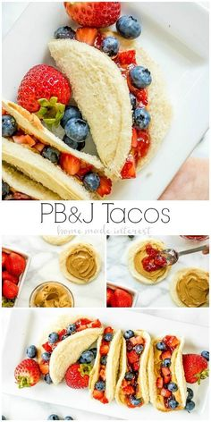Peanut Butter and Jelly Tacos ~ take all of the ingredients of a PB&J sandwich and turn them into a fun taco! This is a lunch recipe for kids that makes a great school lunch idea. Keep the kids from getting bored with this creative lunch idea! Kids Cooking Recipes, Baby Food Recipes, Snack Recipes, Kid Recipes, Cooking Bacon, Cooking Oil, Cooking For Kids, Fruit Recipes For Kids, Cooking Broccoli