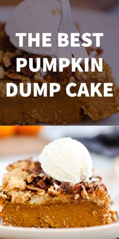 This Pumpkin Dump Cake is ridiculously easy to put together with pantry staples you probably already have on hand. You'll be making this all fall long! Köstliche Desserts, Delicious Desserts, Dessert Recipes, Cheesecake Desserts, Recipes Dinner, Pasta Recipes, Crockpot Recipes, Soup Recipes, Chicken Recipes