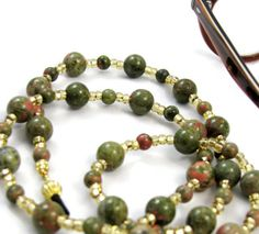 Green and Red Unikite Gemstone Beaded Id Badge or Key Lanyard by nonie615, $26.00 Also available as eyeglass lanyard. Etsy Cards Welcome! 15% off sale.