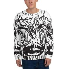 Each unique, all-over printed sweatshirt is precision-cut and hand-sewn to achieve the best possible look and bring out the intricate design. What's more, the durable fabric with a cotton-feel face… Edgy Outfits, Unique Outfits, Fashion Outfits, Unisex Fashion, Punk Fashion, Fleece Fabric, Cool Style, Street Wear, Trippy