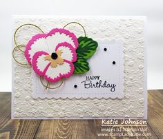 Gorgeous pink pansy using Stampin Up Pansy dies and the Stampin'UP! Ornate Floral embossing folder. Love how the pansy dies layer to create contrast. The stampinup Scallop Contour die makes a nice focal point for the pansy. Birthday Cards, Happy Birthday, Flower Center, Blog Images, Embossing Folder, Pansies, Stampin Up, Paper Crafts, Christmas Ornaments