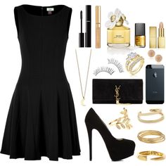 """Black and Gold™"" by livelife2risks on Polyvore"