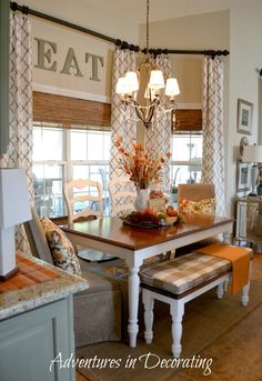 I love the way this nook is set up with the long table instead of round. Need to do this in my house.