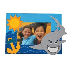 Shark Photo Frame Magnet Craft Kit - OrientalTrading.com   On a canvas with the picture in the middle?