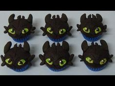 how to make double chocolate mini muffins and decorate as toothless dragon - YouTube