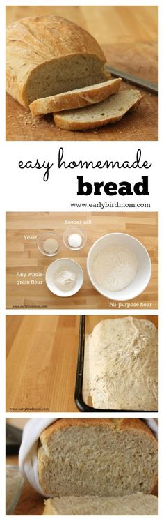 Easy homemade wheat bread. It's so simple that you can have fresh bread for dinner every night! No knead=no fuss. This quick and healthy recipe uses just 4 ingredients (plus water). This recipe is so reliable - it works every time!