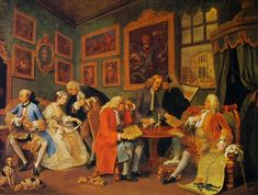 [The first scene from William Hogarth's 'Marriage a la Mode', 1740s.] The author Mark Girouard makes an excellent point in how this series reflects changing social tides of the mid 18th century. A old earl reviews the marriage contract of his son, surrounded in a room bedecked with his coronet. The whole air of the piece, in the general fashion of Hogarth, pokes fun at the personalities of the subjects. Even the title reflects a marriage for love over an arranged union.~