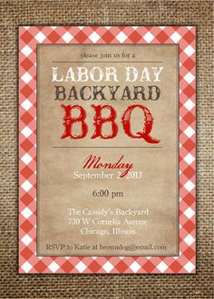 BBQ Invitation : Labor Day/Independence Day/July 4th/Memorial Day