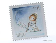 Love letter from the mountain - Faux postage stamp | Holiday series 04