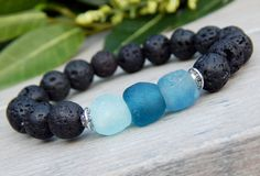Mens Blue Ghana Bead and Volcano Rock Lava Beaded Bracelet