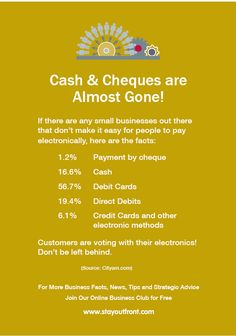Warning for small businesses about electronic payments. www.stayoutfront.com