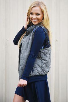Forever Sparkling Vest: Gray/Navy #shophopes