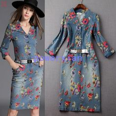 Womens Washed Denim Dress Long Casual Jean Dresses Floral printed  Half Sleeve | Clothing, Shoes & Accessories, Women's Clothing, Dresses | eBay!