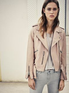 Wyatt Biker Jacket by All Saints This tough-girl biker jacket is right on trend for spring in using a much softer hue of pink and blue. Pairs beautifully with distressed jeans or a slip dress. The soft colors give the Get Leashed Rebel a bit of a girly edge. Just enough pockets to store your poop bags and a couple of treats for good behavior. Pictured here in blush pink. Also available in sky blue.