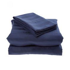 Juego Parker Home de sábanas confeccionado en algodón satín 300 hilos color azul marino con diseño de rayas. Ideal para colchones con altura desde 18 hasta 36 cm.<br><br>Instrucciones de cuidado:<br><br>Lavar en lavadora con agua tibia.<br><br>Lavar con j