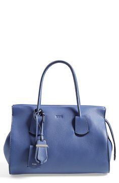 Tod's Medium Note Tote. Soft cadet blue leather, hidden zipper bonus. Remove the logo 'dog tag' and it's perfect.