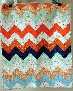 a quilt is nice: zig zag quilt kit tutorial. Use this pattern for the blue & lime zig-zag quilt Chevron Quilt Tutorials, Quilting Tutorials, Quilting Projects, Sewing Projects, Quilting Ideas, Sewing Ideas, Modern Quilting, Diy Projects, Geometric Patterns