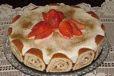 Semifrio de Morangos e Iogurte Ingredientes: 2 tortas de compra com recheio de morango (utilizei da marca Dancake) 2 pacotes de natas (400 ml) 3 iogurtes gregos naturais 1 lata de leite condensado (397 gr) 12 folhas de gelatina Morangos frescos para decorar Preparação: Demolhe as folhas de gelatina em água fria. Corte a torta … Flan, Cheesecakes, Tiramisu, Pie, Ethnic Recipes, Desserts, Portugal, Junho, Candy Favors