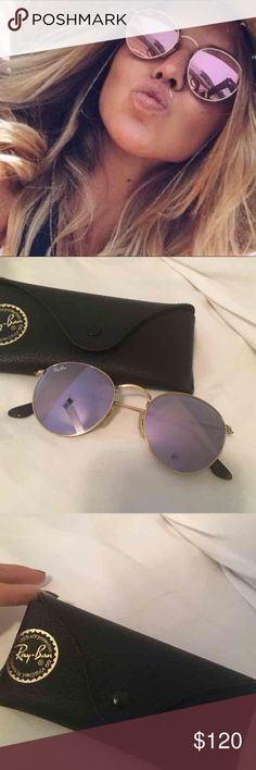 Round Ray Ban Brand new round ray ban. Never used perfect condition. Lilac color. Super cute ray ban Accessories Glasses