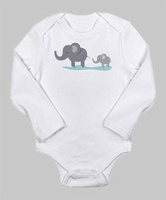 Noah's Ark White Elephants Long-Sleeve Bodysuit by CafePress on #zulily today!