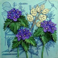 3D - Botanical - embroidery - textile art - 'Honesty' - Assemblage - Corinne Young - www.corinneyoungtextiles.co.uk