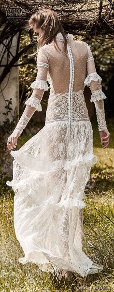 christos costarellos spring 2018 bridal long sleeves high neck full lace embellishment bohemian a  line wedding dress sheer back sweep train (32) bv -- Costarellos Spring 2018 Wedding Dresses