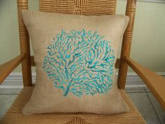 Coral Pillow cover Beach pillow Shell pillow by KelleysCollections