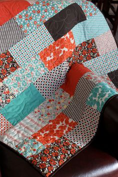 Orange, Brown, And Aqua Baby Girl Crib Blanket Or Quilt Hello Betty