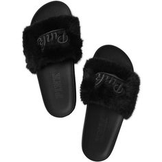 PINK Faux Fur Slides ($30) ❤ liked on Polyvore featuring shoes, items, rubber sole shoes, print shoes, faux fur shoes, patterned shoes and pink shoes