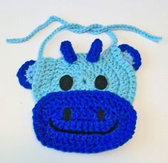 So Cute Hand Crocheted Blue Cow Bull Baby Bib Great Photo Prop Matching Hat Also Available