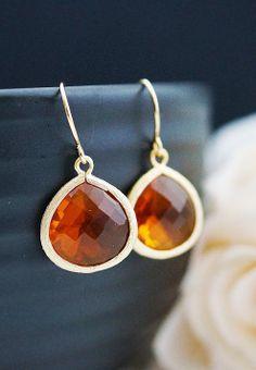 Orange Fire Opal Glass Gold Trimmed Earrings
