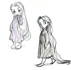 concept art for rapunzel from Tangled Glen Keane. What adorable little girl sketches, so cute.
