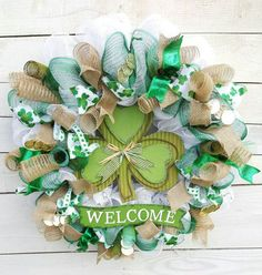 Check out this item in my Etsy shop https://www.etsy.com/listing/500676310/welcome-wreath-st-patricks-decor-st