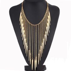 Cheap Chain Necklaces, Buy Directly from China Suppliers:                    Summer Style Woman Maxi Necklace Gold Collar Chain Multi-layer gold Rivet LongTassel Punk jewel