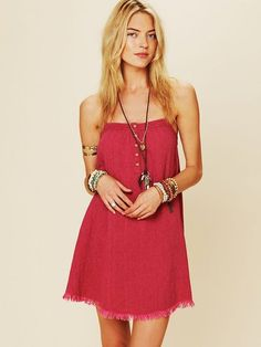 Free People South Beach Swing Dress in Red (amarauth)