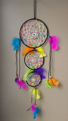 large triple neon rainbow tiedye dreamcatcher by shansonsk on Etsy, $38.00