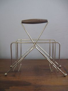 60s / 70s Wire Napkin Holder with Wood by 100PercentPolyverse