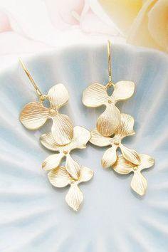 Orchid Trio Dangle Earrings Matte Gold