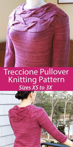 """Sweater Knitting Pattern Treccione Pullover - Pullover with a yoke formed with an oversized cable. """"Treccione"""" means """"big cable"""" in Italian. Sizes 30.25 (34.5, 38.75, 43, 46.25, 50.5, 54.75)"""" / 77 (87.5, 98.5, 109, 117.5, 128.5, 139) cm bust circumference. Worsted weight yarn. Designed by Angela Hahn."""